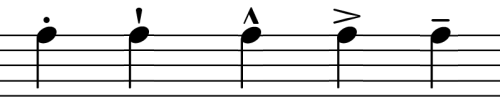 examples of various accents and markings used in musical notation.